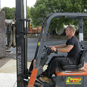 Employee on a forklift truck
